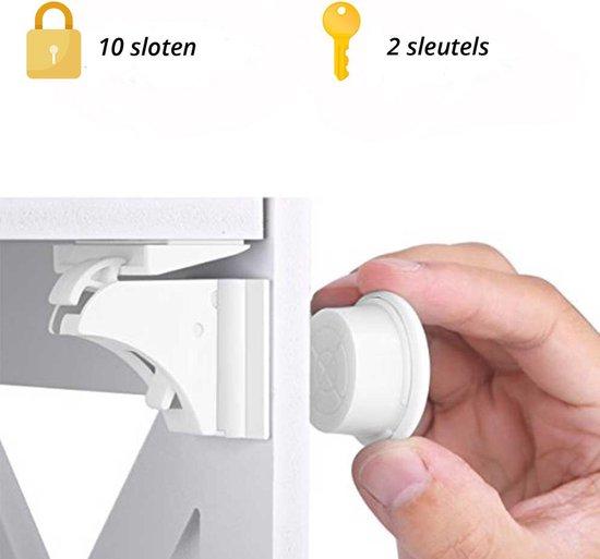 Magnetisch Kinderslot - 10 Sloten + 2 magneetsleutel - Baby Beveiliging - Kast, Deur en Lade slot – Baby veiligheid magneten