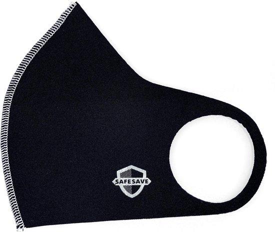 SAFESAVE Mondkapje - Wasbaar en herbruikbaar- Zwart - 3 stuks