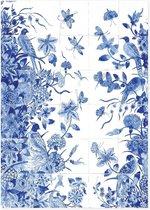 Theedoek, Tegeltableau met vogels, Delfts blauw