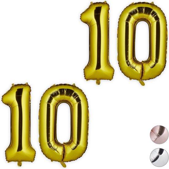 relaxdays 2x folie ballon 10 - cijfer ballon groot - folieballon - ballonnen - goud