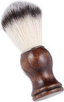 Luxe kappersscheerkwast met zachte haren - Voor een optimale verdeling van scheerschuim en scheercrème - Professioneel - Houten handvat - Scheren - Borstel - Shavebrush - Nylon Haar - Scheermes - Stofborstel - Facial Baard Schoonmaken - Shave Tool