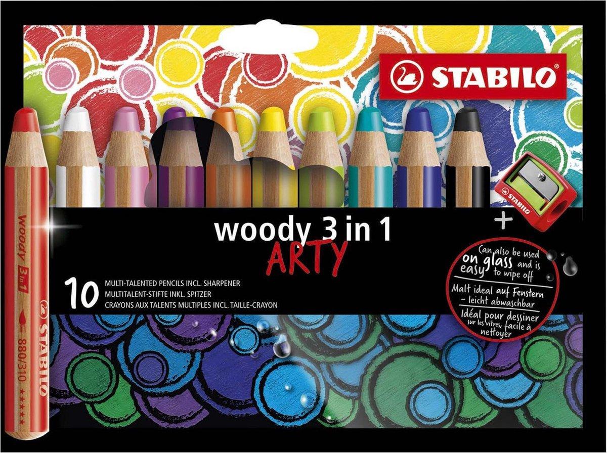 STABILO Woody 3 in 1 - Multi Talent Kleurpotlood - ARTY Etui Met 10 Kleuren + Puntenslijper