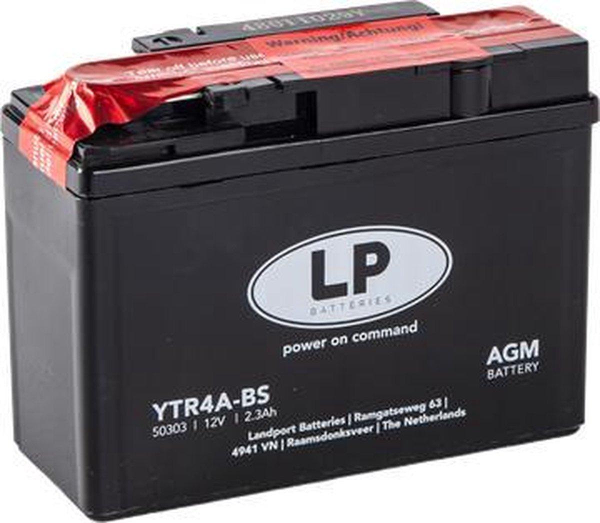 Landport AGM Motor/Scooter accu YTR4A-BS   12V / 2,3AH / 40CCA