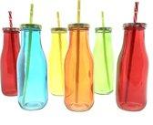 6 x gekleurde glazen melkfles 450 ml met  deksel en rietje - Mason Jars