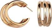 oorbellen dames  oorringen dames   goudkleurig   dubbele ringen   luxe oorbellen