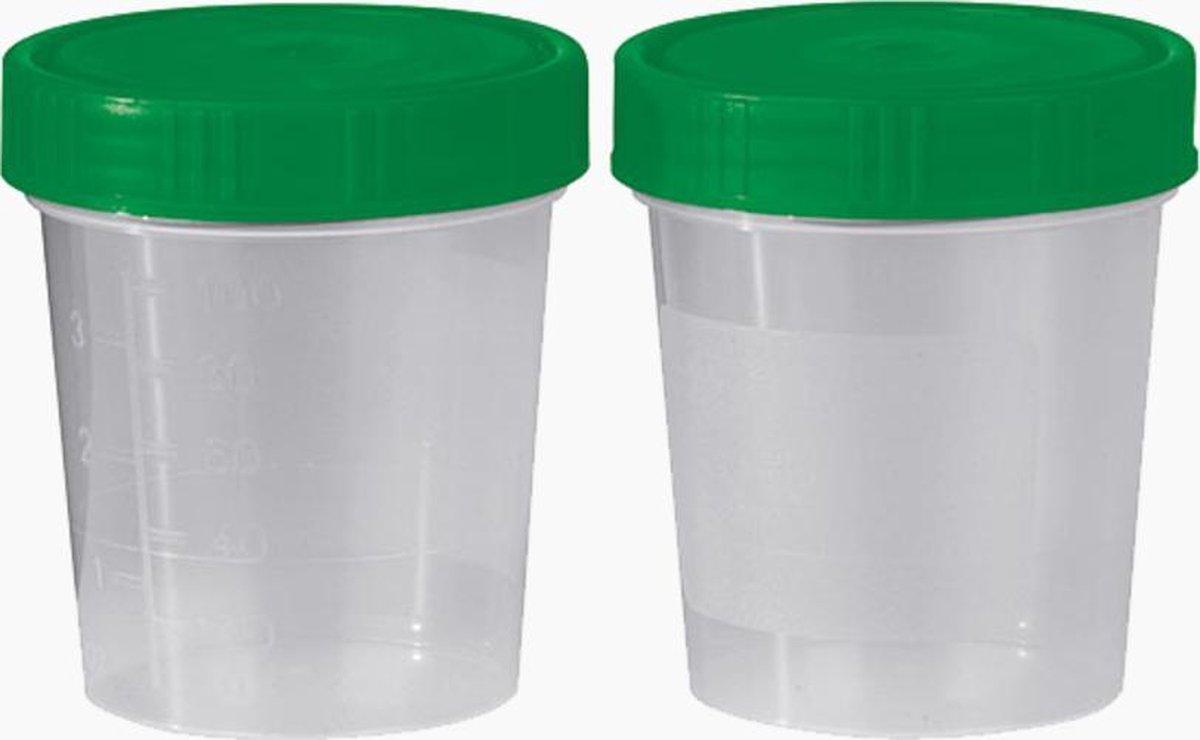 Urine Potjes   10 Stuks - 100 ML   Afsluitbaar   Herbruikbare Containers