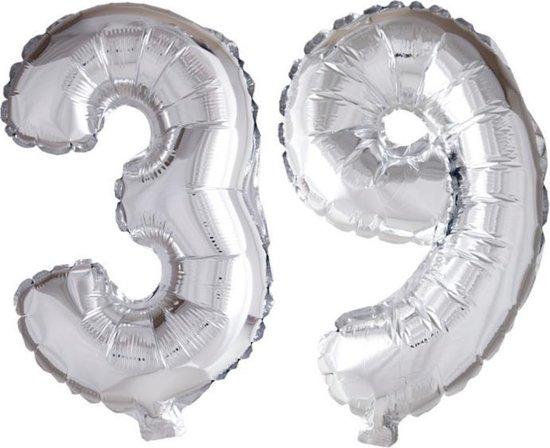 Folieballon 39 jaar zilver 86cm