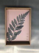 Dienblad - roze - met veer
