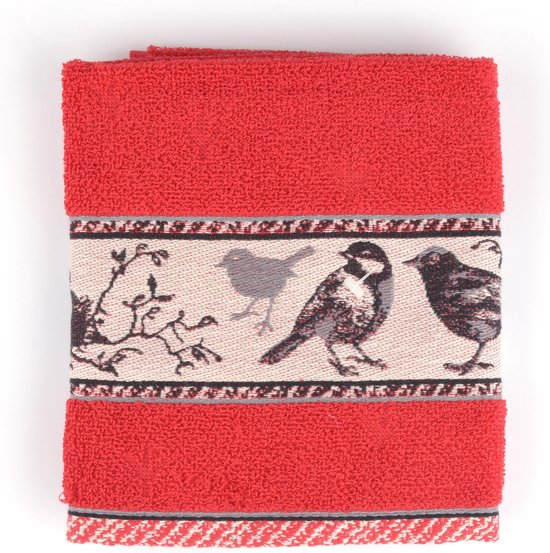 Keukendoek Bunzlau Castle Birds 53x60cm, rood - 6 pack