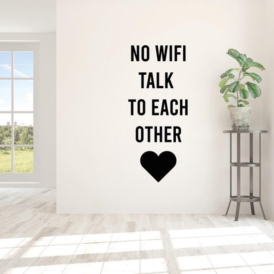 Muursticker No Wifi Talk To Each Other -  Groen -  160 x 69 cm  - Muursticker4Sale