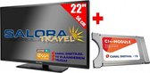 "Salora 22"" Travel TV 12/230 Volt + CanalDigitaal Cam701"