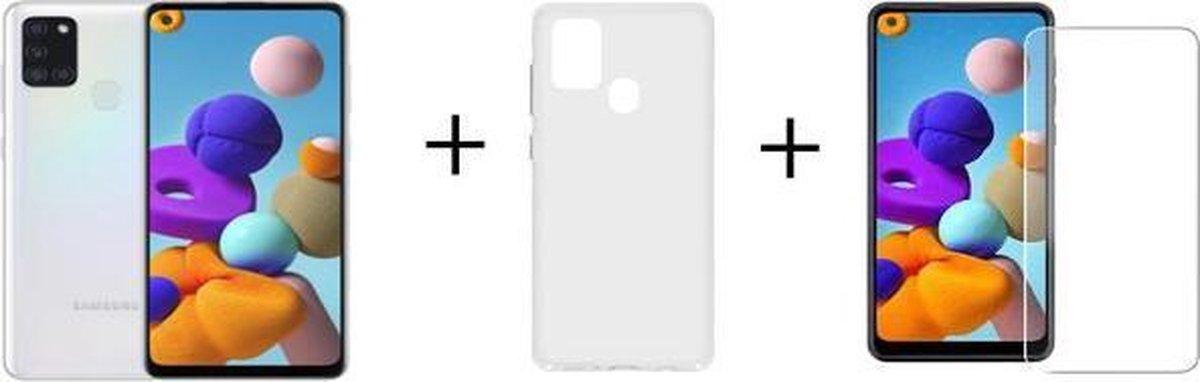 Samsung Galaxy A21s - 32GB - Wit + Transparant Hoesje + Screenprotector van HGA kopen