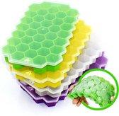 AXTIES Luxe Zeshoekige IJsblokjesvorm met Deksel (4 stuks) - 100% BPA en Chemicaliën Vrij Siliconen IJsblokjes Vormen
