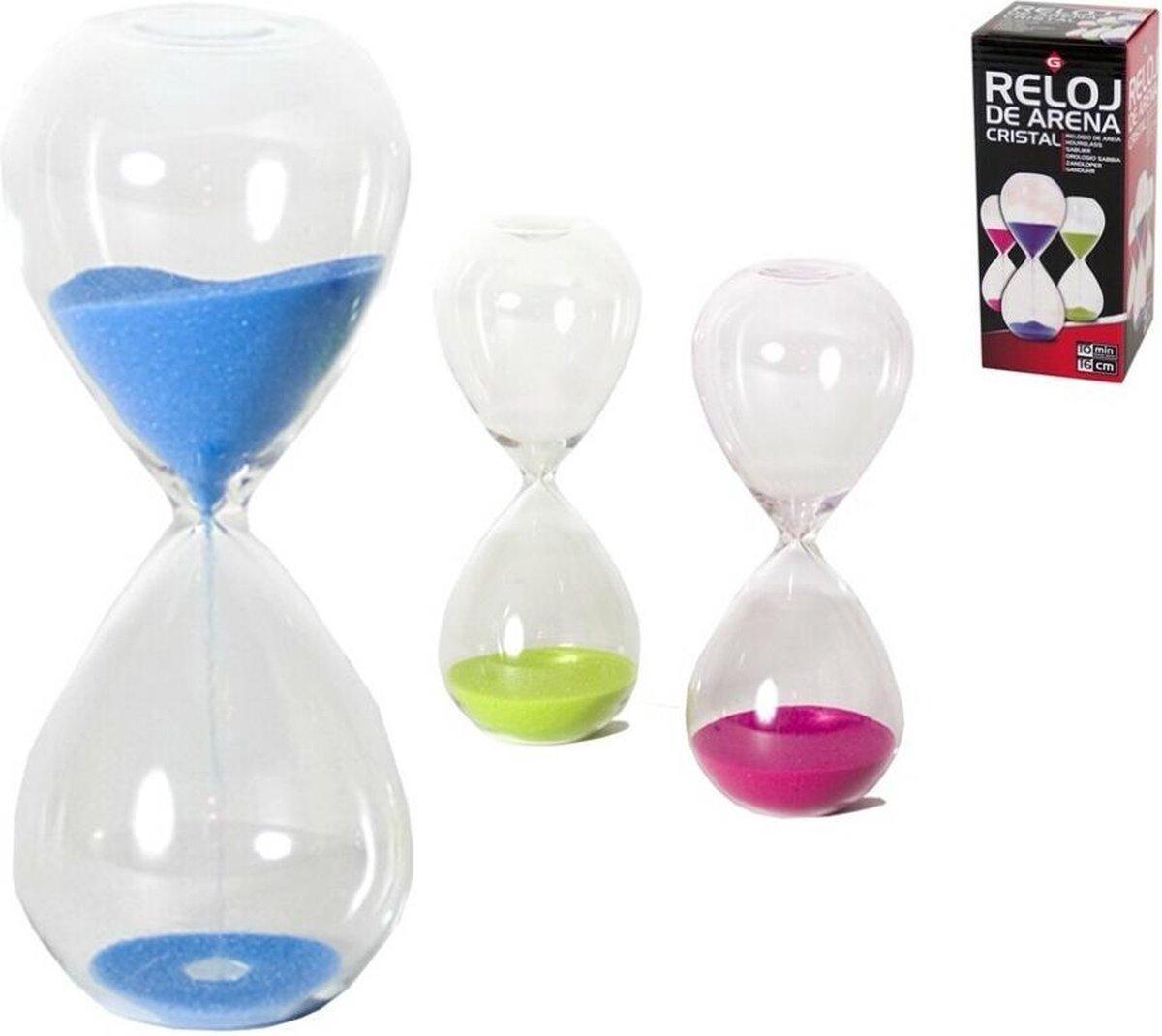 Zandloper 10 minuten / groen / blauw / roze / 16 cm / van glas