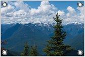 Tuinposter –Bergen met Bomen– 150x100 Foto op Tuinposter (wanddecoratie voor buiten en binnen)