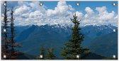 Tuinposter –Bergen met Bomen– 200x100 Foto op Tuinposter (wanddecoratie voor buiten en binnen)