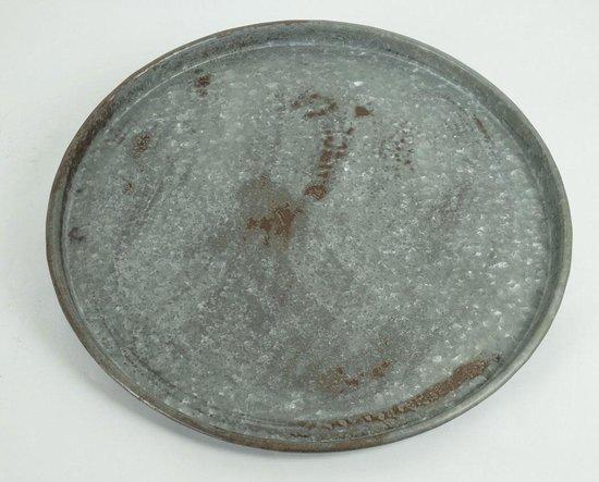 IJzeren platte grote schaal - brocante ijzeren schaal - groot oud ijzeren dienblad - vintage dienblad