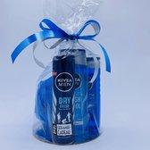 Cadeau voor man Nivea men Fresh shampoo Nivea deodorant Nivea shower gel en douche spons - gadgets mannen - geschenkset mannen - 4 producten