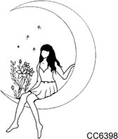 Temporary tattoo   tijdelijke tattoo   fake tattoo   tekening meisje op maan met bloemen en sterren   60 x 60 mm