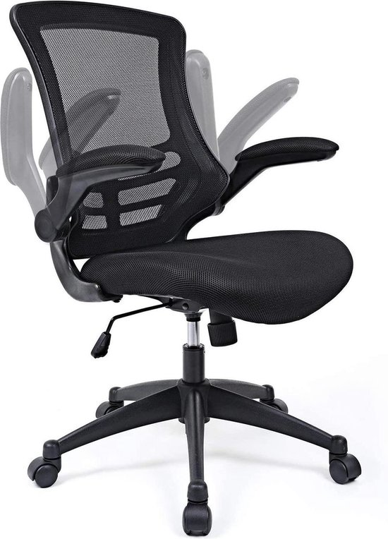 LIVILO - Bureaustoel - Ergonomische - Opklapbare armleuningen - Rugleuning met kantelmechanisme - Zwart