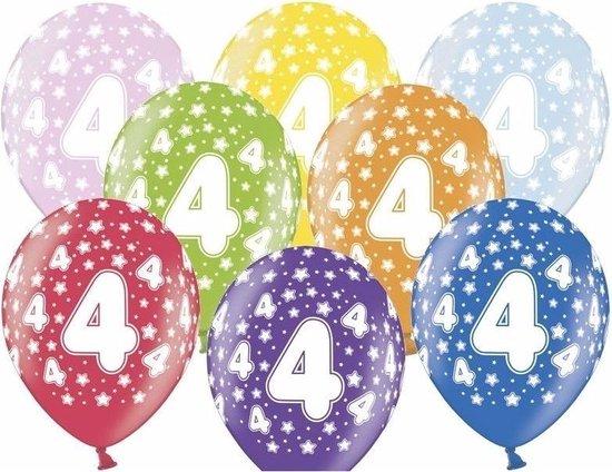 12x stuks verjaardag ballonnen 4 jaar thema met sterretjes - Leeftijd feestartikelen en versiering