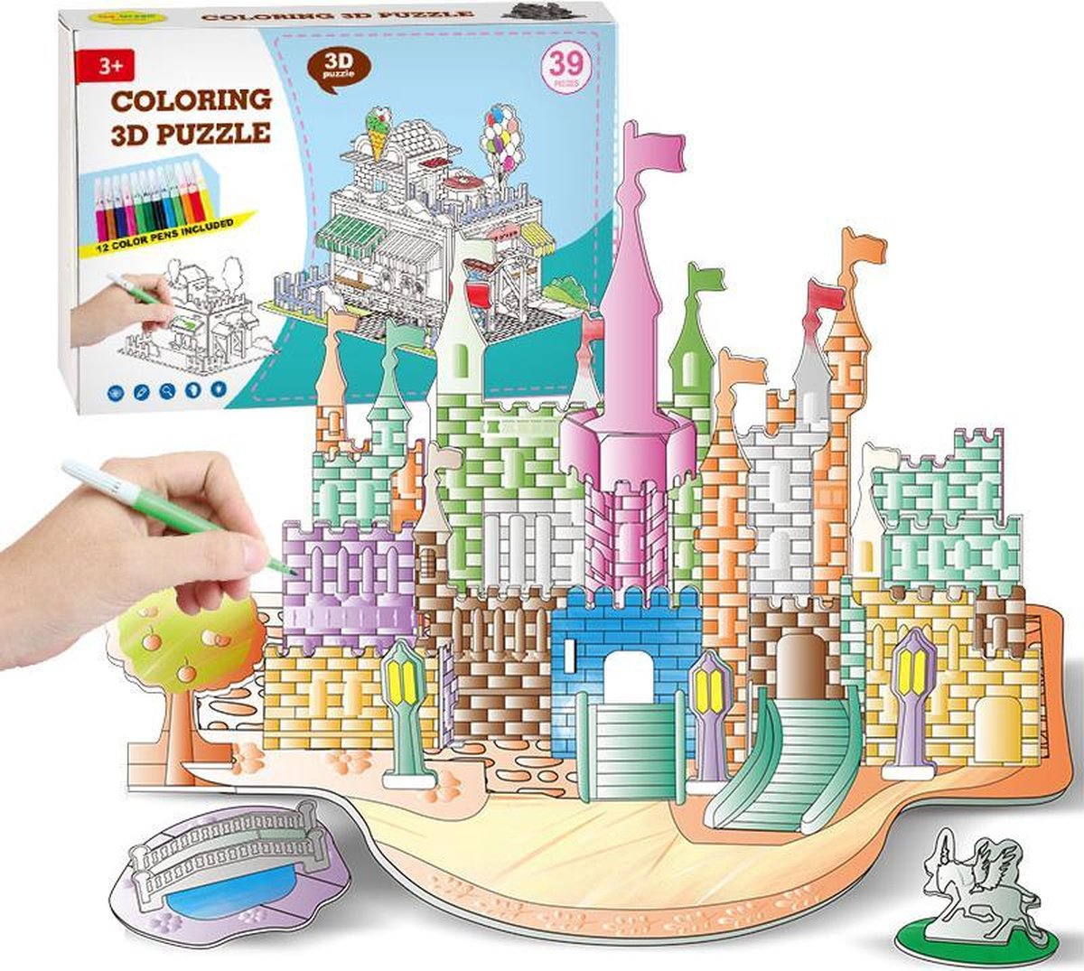 """3D Puzzel """" Kasteel B&C 2 in 1 Set' Speelgoed voor kinderen - Jongens En Meisjes - Voertuigen - Villa - Kasteel - Tekenen - Kleuren - Knutselen - Vanaf 3 Jaar Oud - Leerzaam"""