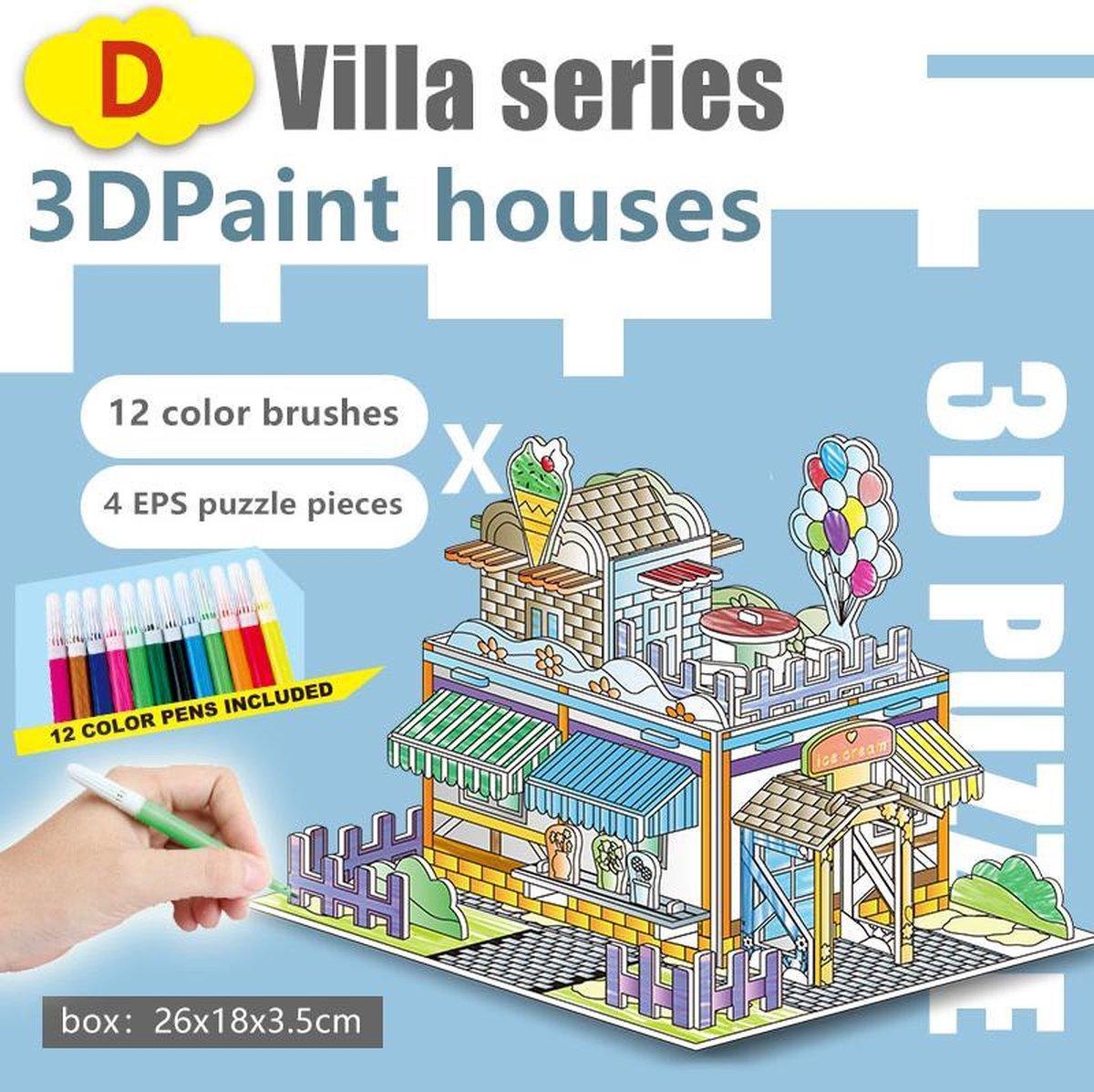 3D Puzzel 'Villa B&C 2 in 1 Set' Speelgoed voor kinderen - Jongens En Meisjes - Voertuigen - Villa - Kasteel - Tekenen - Kleuren - Knutselen - Vanaf 3 Jaar Oud - Leerzaam