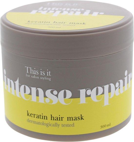 Keratine behandeling - Intense repair - Keratine haarmasker - Intense repair keratin hair mask - keratine - haarmasker - hydraterend - permanenten - zonder sulfaten - this is it