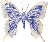1x Tuindecoratie vlinder van metaal blauw/wit 31 cm - Metalen schutting decoratie vlinders - Dierenbeelden tuindecoratie