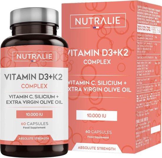 Vitamine D3 10.000 IU + K2 MK7 Hoge Dosis   Verbetert het Immuunsysteem, Botten en Spieren   Vitamine D3, K2, C, Silicium en Extra Vergine Olijfolie voor Volwassenen   60 Capsules Nutralie