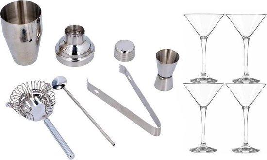 Complete cocktail shaker workshop set inclusief 4x cocktailglazen / Martiniglazen - 9 delig