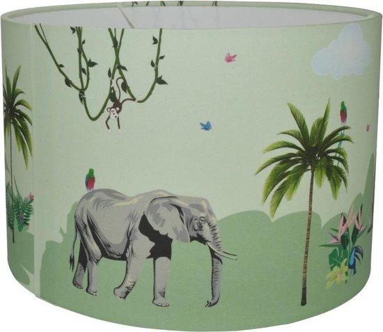 Jungle kamer lamp - Jungle kinderlamp groen giraf, olifant en meer dieren - Jongenslamp - Land of Kids Kinderverlichting
