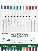 Zebra Clickart Knock Sign 0,6mm Pennen Set van 12 Donkere Kleuren verpakt in een Zipperbag