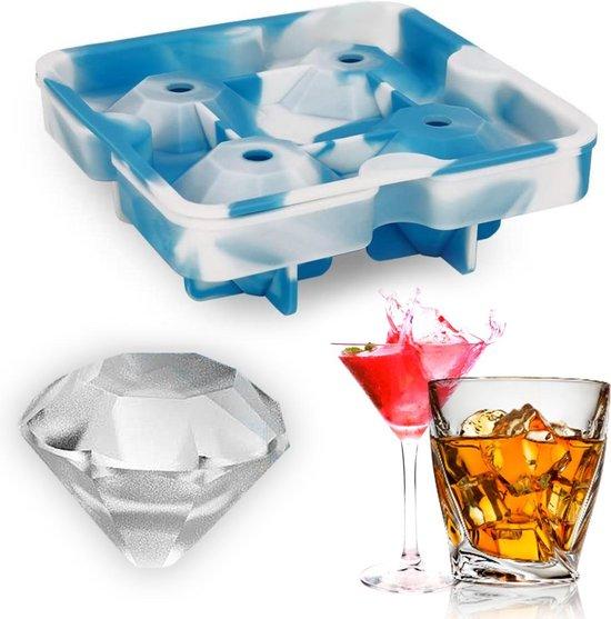 Diamant ijsblokjes vorm - ice cubes - (whiskey ijsblokjes & cocktail ijs) 4 diamanten - siliconen en BPA vrij