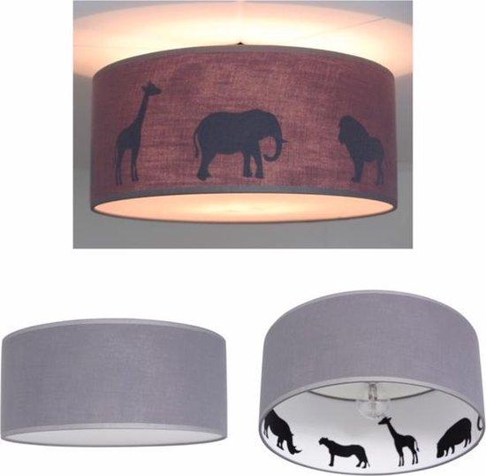 Plafondlamp Roozje - Reverse silhouette Jungle dieren grijs - 35cm