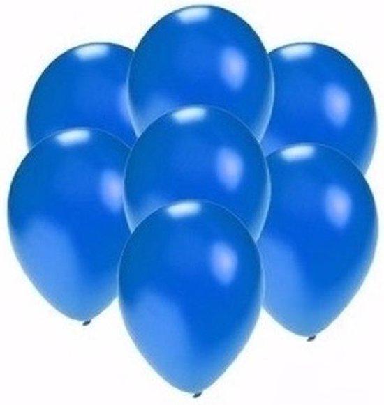 Kleine metallic blauwe ballonnen 50 stuks - Feestartikelen/versiering
