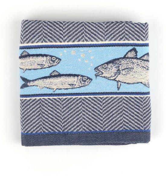 Theedoek Bunzlau Castle Fish 65x65cm, koninklijk blauw - 6 pack