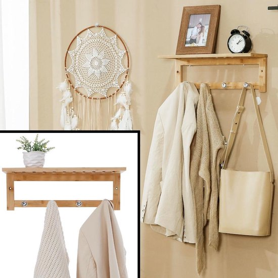 Decopatent® Wandkapstok bamboe hout 4 ophang haken & Legplank - Wandrek Kapstok voor Muur of Wand - Garderoberek Hangende kapstok