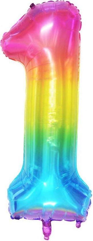 DW4Trading® Cijfer ballon 1 regenboog 100cm