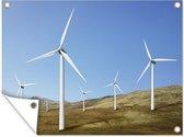 Een kale Engelse vlakte met windmolens Tuinposter 160x120 cm - Tuindoek / Buitencanvas / Schilderijen voor buiten (tuin decoratie) XXL / Groot formaat!