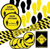 Stickers Houd 1,5 meter afstand - Corona pakket 1 - 18 stuks