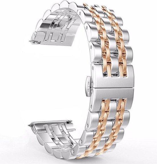 Samsung Galaxy Watch Active Bandje - Smartwatch bandje - fijn bandje - 20mm metalen bandje zilver rosegoud