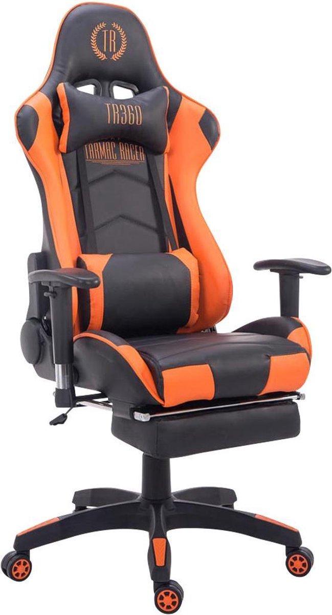 Bureaustoel - Gamestoel - Hoofdkussen - Voetensteun - Verstelbaar - Kunstleer - Oranje/zwart - 67x51x132 cm