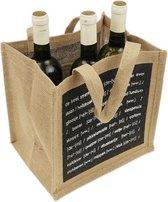 Wijntas voor 6 flessen - Flessentas - Wijn tas - Boodschappentas - Flessendrager