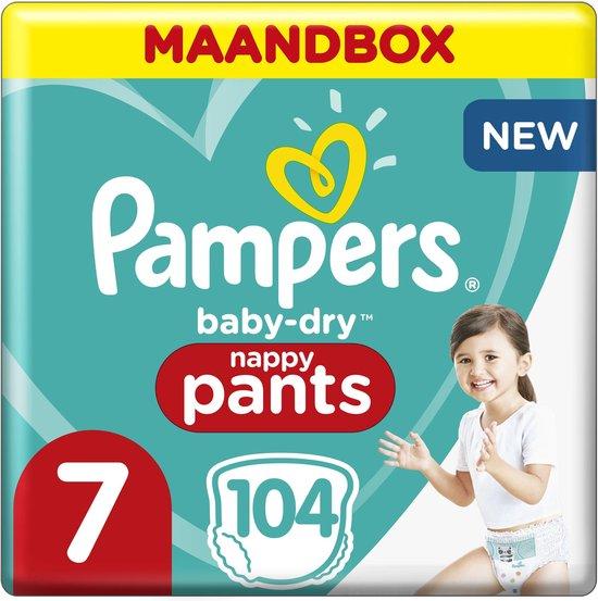 Pampers Baby Dry Pants Luierbroekjes - Maat 7 (17+ kg) - 104 Stuks - Maandbox