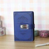Luxe Vintage Persoonlijk Geheim Dagboek Met Codeslot - Notebook Met Geheime Code Slot - Secret Diary - Blauw