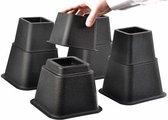 Bedverhogers / bedklossen / meubelverhogers / stoelverhogers per set van 8. Instelbaar tussen 8, 13 en 21 cm. Max. 600 kg belasting.