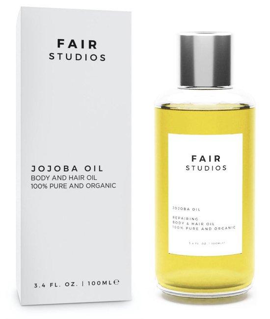Jojoba Olie - EU BIO Keurmerk - 100% Biologisch - 100% Puur - FAIR Studios Originals - Jojoba Olie voor Haar, Huid en Gezicht - Koudgeperst - 100ML - Gezichtsverzorging - Etherische Olie - Basisolie - Jojoba Oil