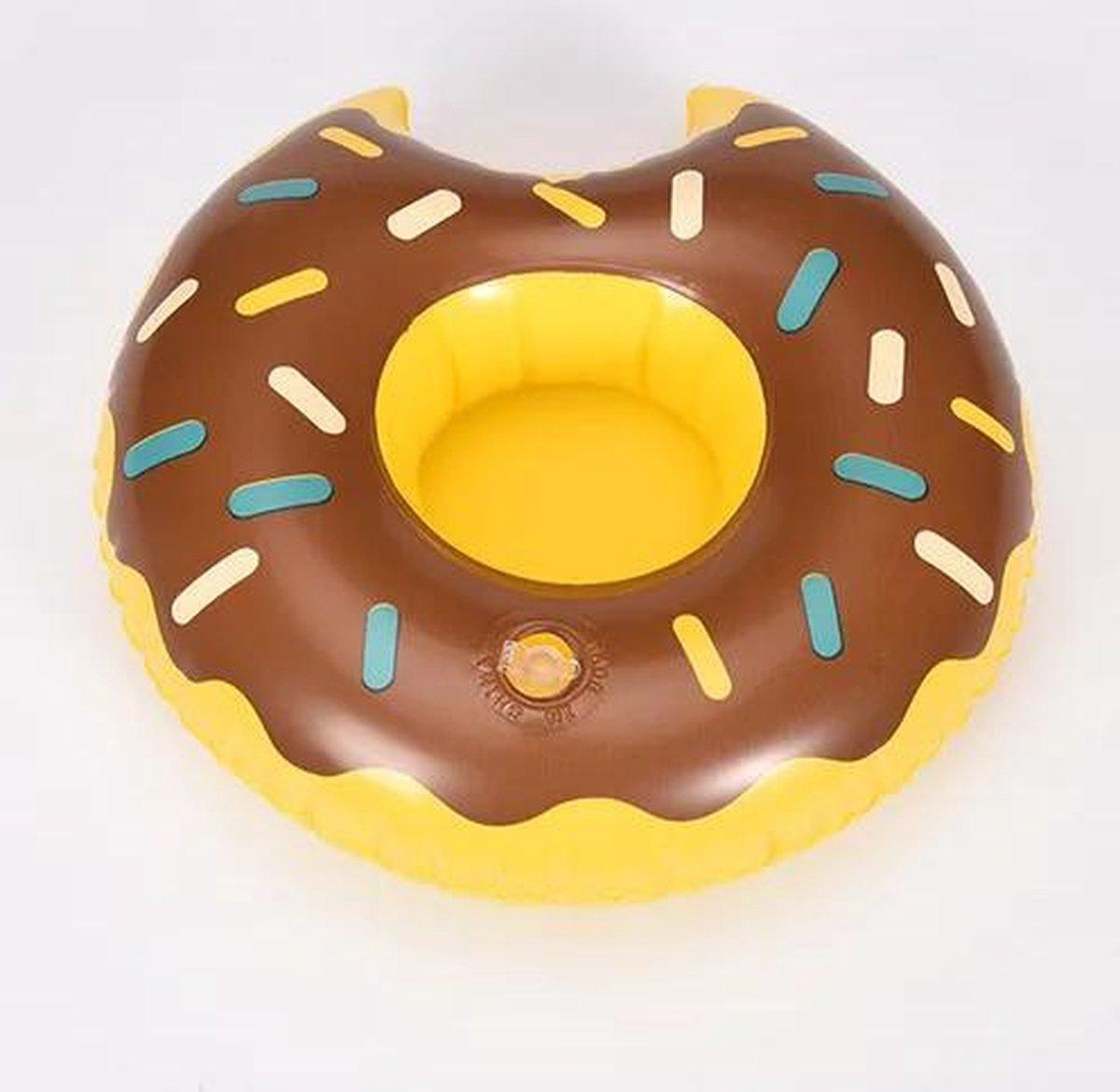 Opblaasbare drankenhouder voor in het zwembad | drank zwembandje |drink holder | chocolade donut