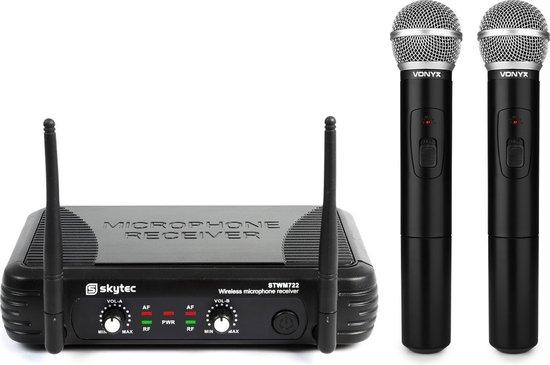 Skytec STWM722 2-kanaals UHF Draadloos Microfoonsysteem